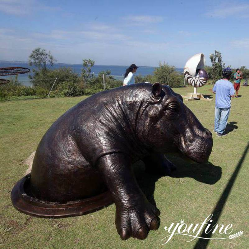 1 Large Bronze Come Out Hippo Statue Outdoor Garden for Sale