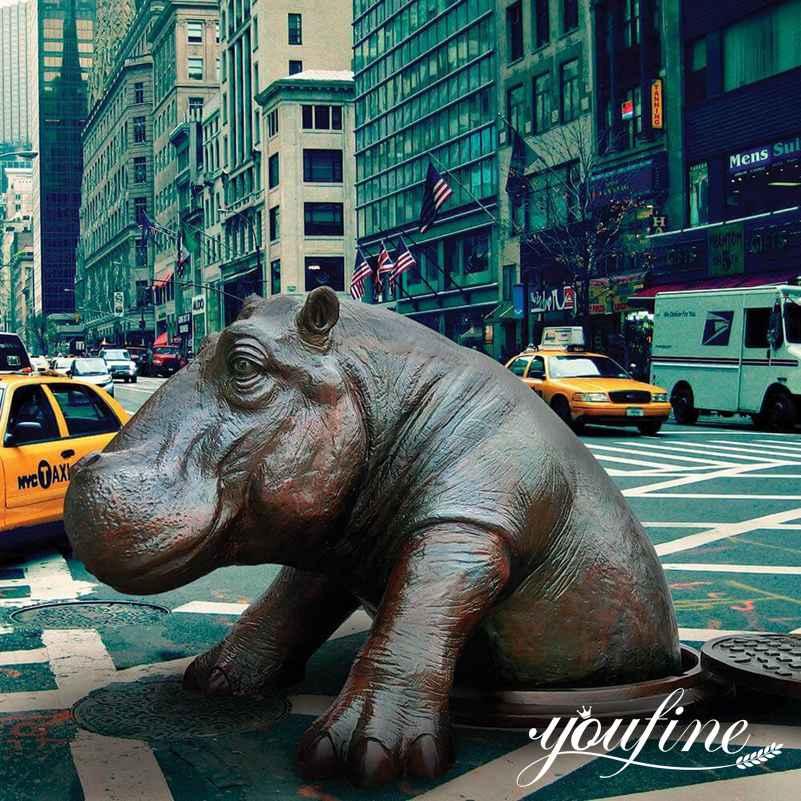 1 Large Bronze Hippo Statue Outdoor Garden for Sale