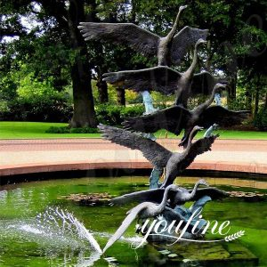 Bronze Swan Sculptures Group Pool Decoration for Sale BOKK-598