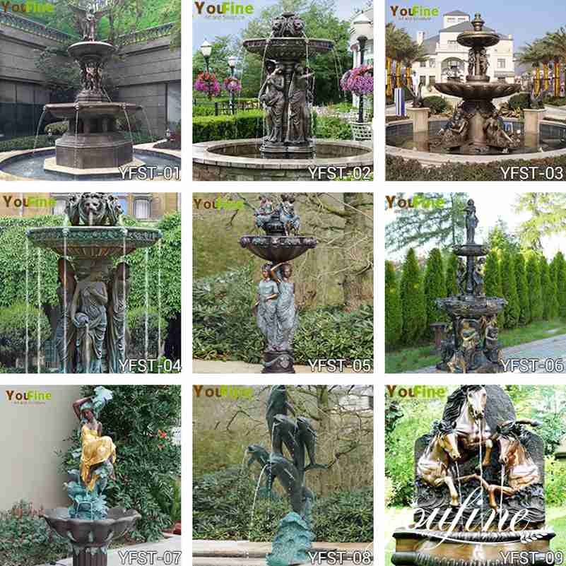 bronze water fountain statues