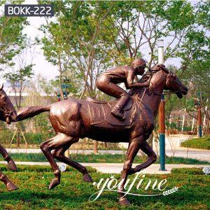 Life Size Cowboy Bronze Racing Horse Statue for Sale BOKK-222