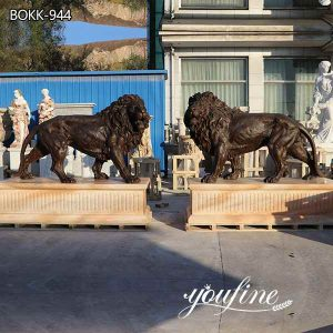 Antique Bronze Lion Statues Outdoor Gates Decor for Sale BOKK-944