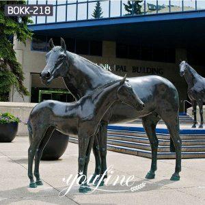 Bronze Mare and Foal Statue Square Decoration for Sale BOKK-218