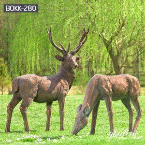 Life Size Bronze Elk Couple Statues Garden Decor for Sale BOKK-280