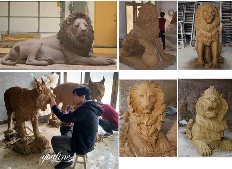 clay molds of lion