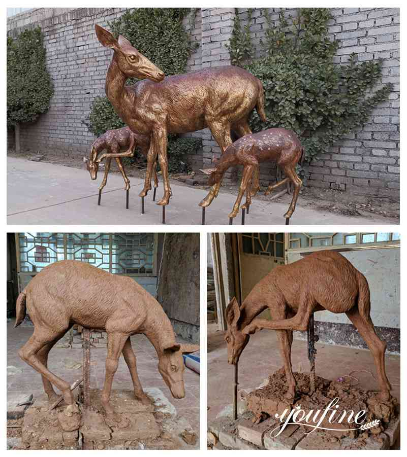 Bronze Doe and Fawn Statues Zoo Ornament for Sale