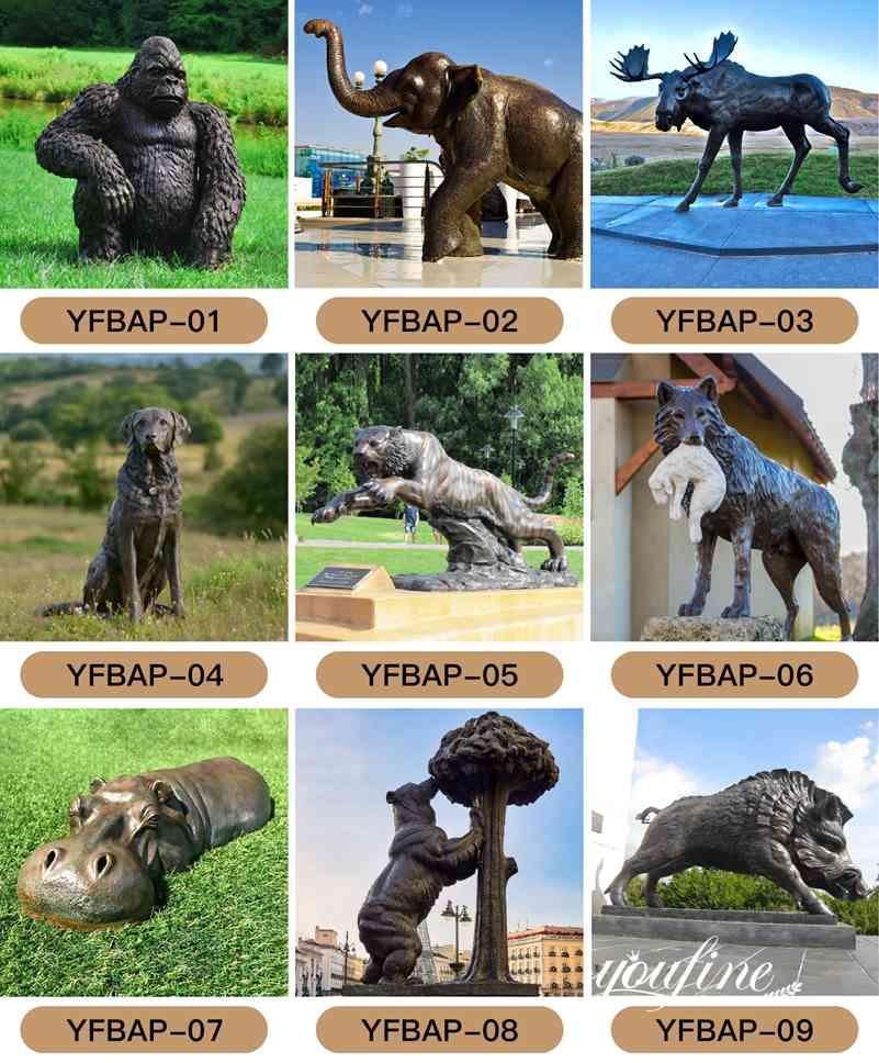 Large bronze elephant garden statues