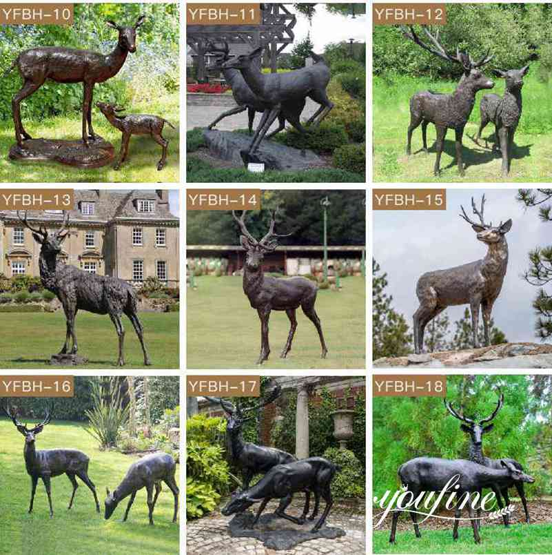 Life Size Bronze Doe and Fawn Statues