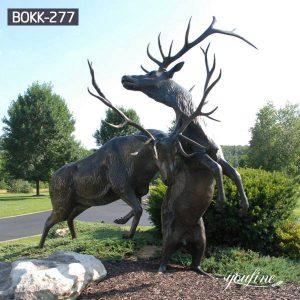 Life Size Fight Bronze Elk Statues Street Decor for Sale BOKK-277