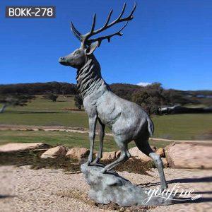 Outdoor Bronze Elk Statues Patina Life Size for Sale BOKK-278