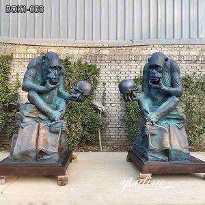 Antique Bronze Ape with Skull Statues Garden Decor for Sale BOK1-008