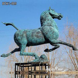 Outdoor Antique Bronze Running Horse Statue Sqaure Decor on Sale BOK1-009