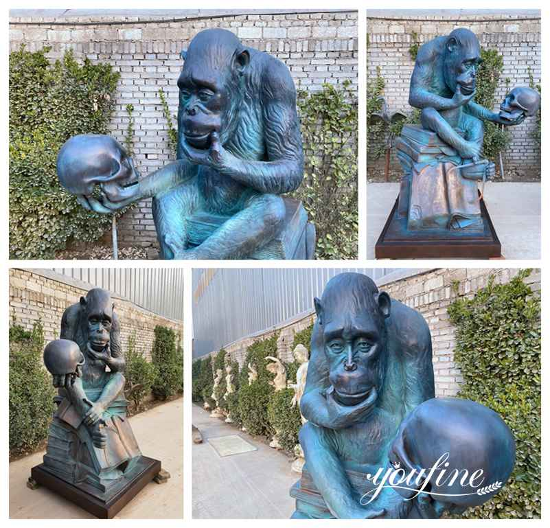 Ape with Skull Statues Garden Decor for Sale