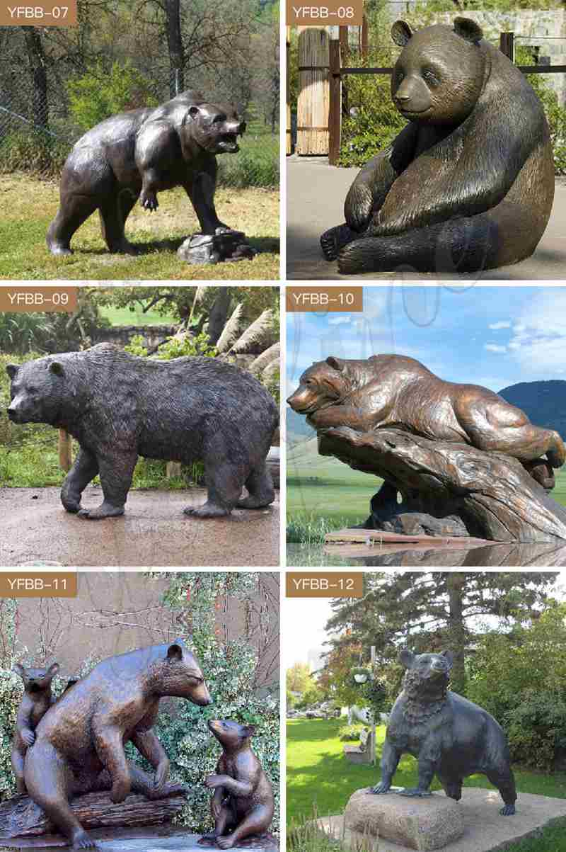 Bronze Bear Family Statue Mother and Kids for Sale BOKK-676 (6)