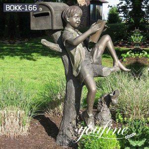 Garden Decor Bronze Boy Statue Reading Book for Sale BOKK-166