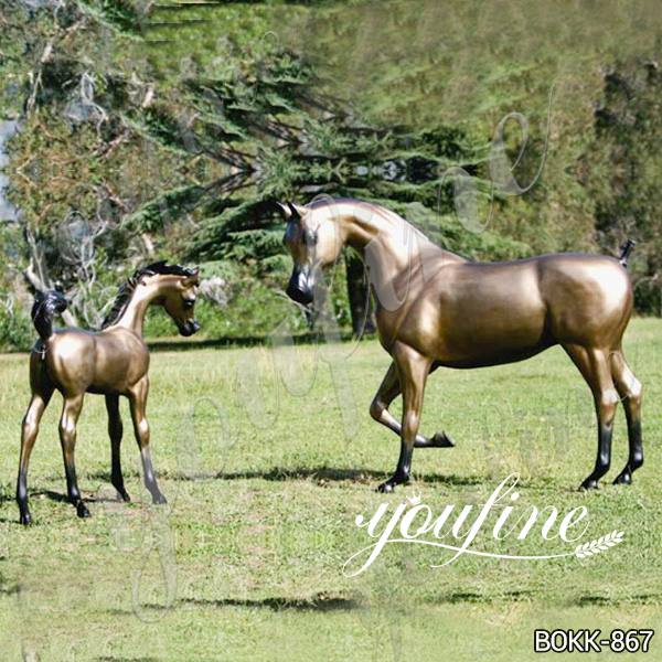 Outdoor Decoration Bronze Mare and Foal Statue for Sale BOKK-867 (2)