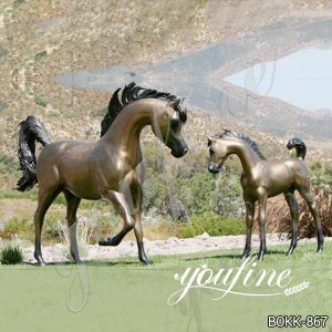 Outdoor Decoration Bronze Mare and Foal Statue for Sale BOKK-867